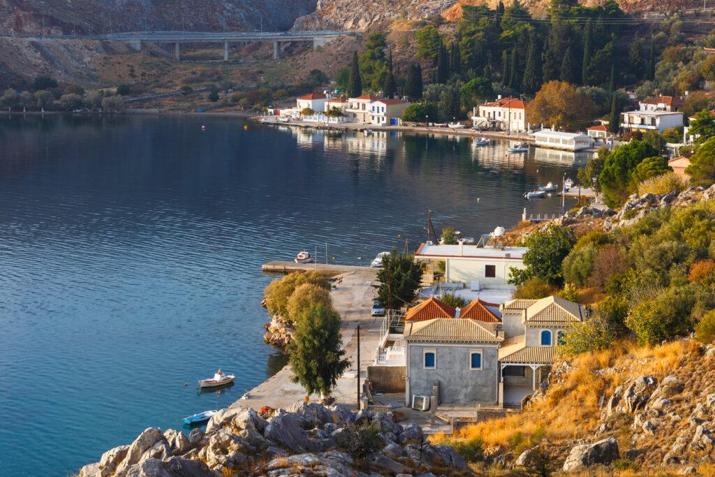 Harbour of Pantoukios village in northern Chios island, North Aegean Sea Greece