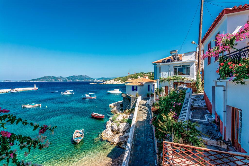 Kokkari village, Samos island, Aegean Sea Greece
