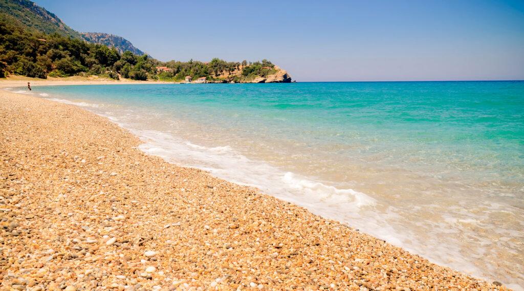 Megalo Seitani beach, on the mountainous northwest coast of Samos island, Aegean Sea Greece