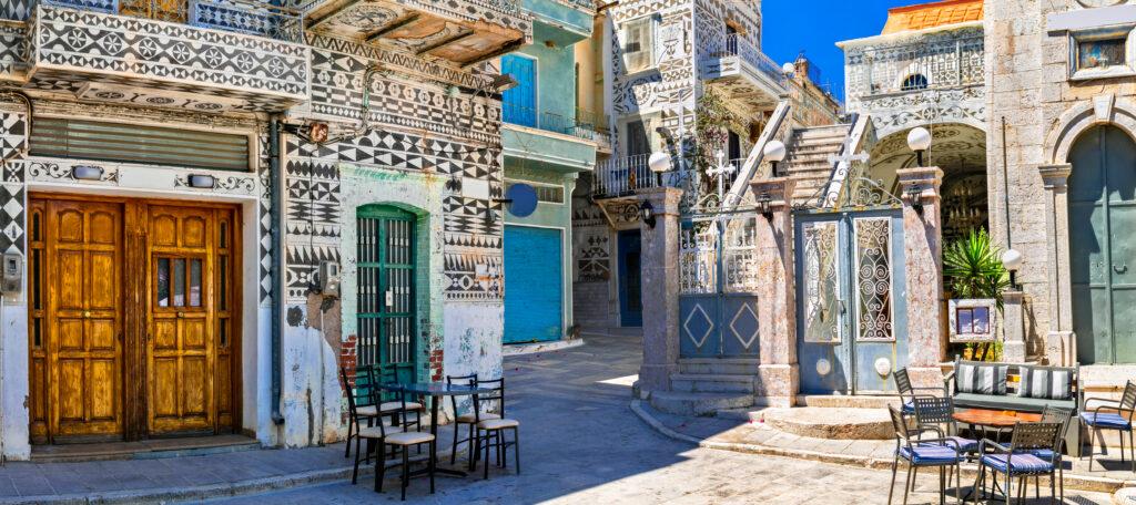 Unique traditional village of Pyrgi in Chios island, North Aegean Sea Greece