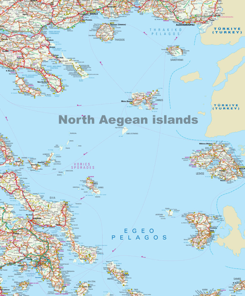 Map of the North Aegean Sea, Greece