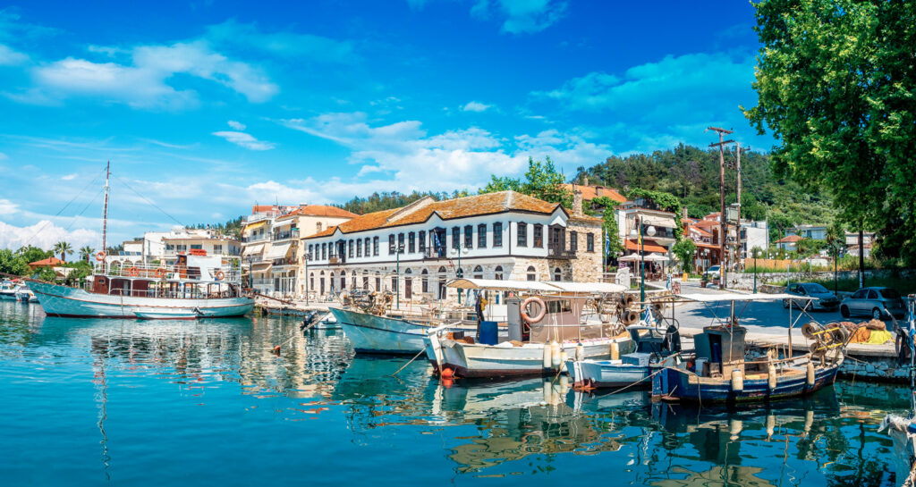 Old harbour of Limenas in Thassos island, North Aegean Sea Greece
