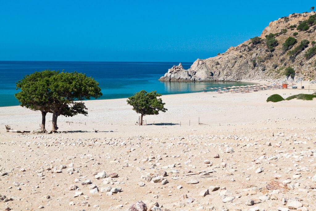 Pahia Ammos beach in Samothrace, North Aegean Sea Greece