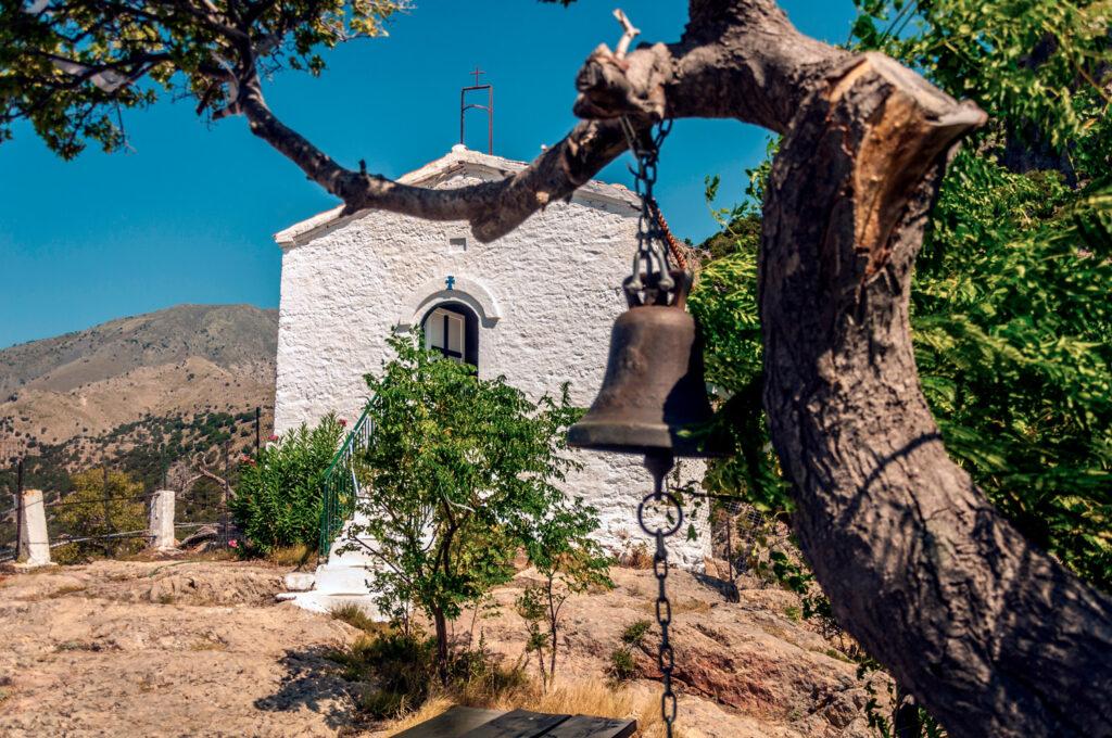Panagia Krimniotissa, the beautiful chapel on the top of the mountain in Samothrace, North Aegean Sea Greece
