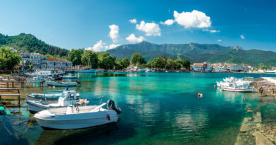 Panoramic view of Limenas Thassou, capital and main port of Thassos island, North Aegean Sea Greece