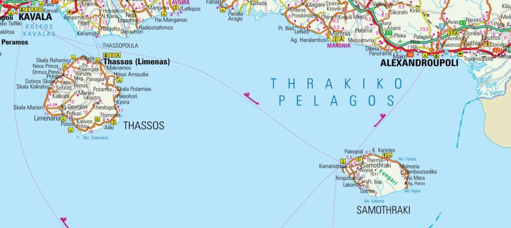Map of Samothrace, Greece