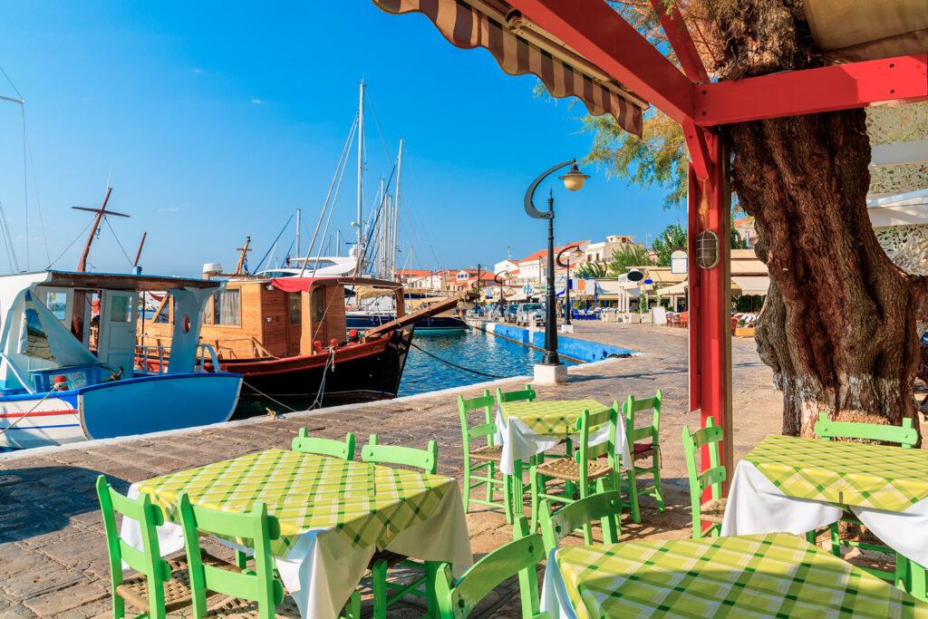 Tavern in the port of Pythagorion in Samos island, Aegean Sea Greece
