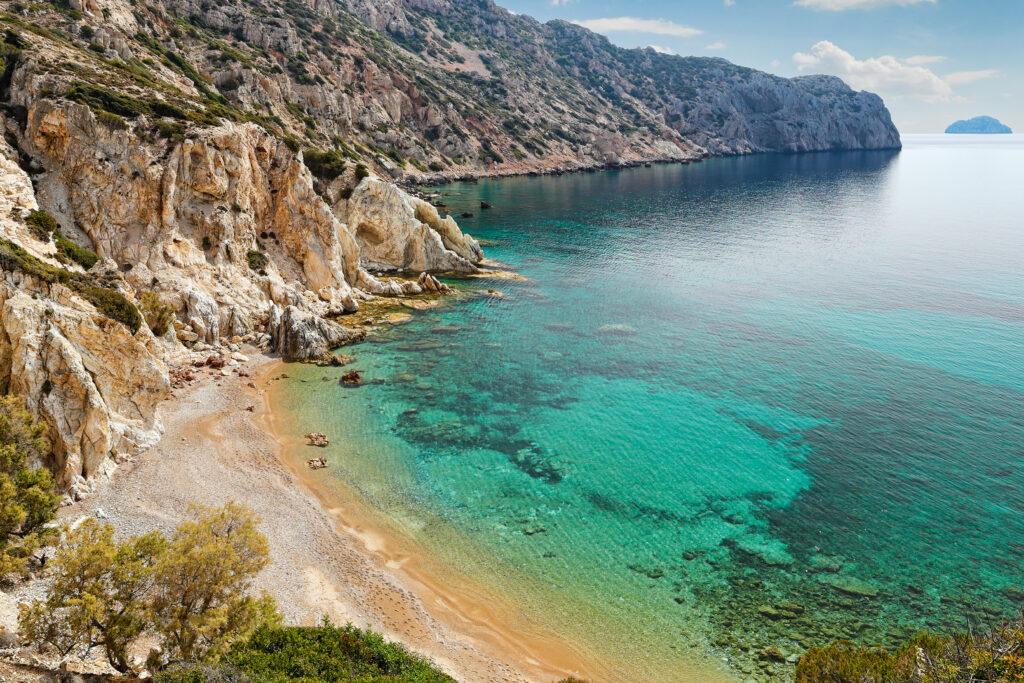 Vroulida beach in Chios island, North Aegean Sea Greece