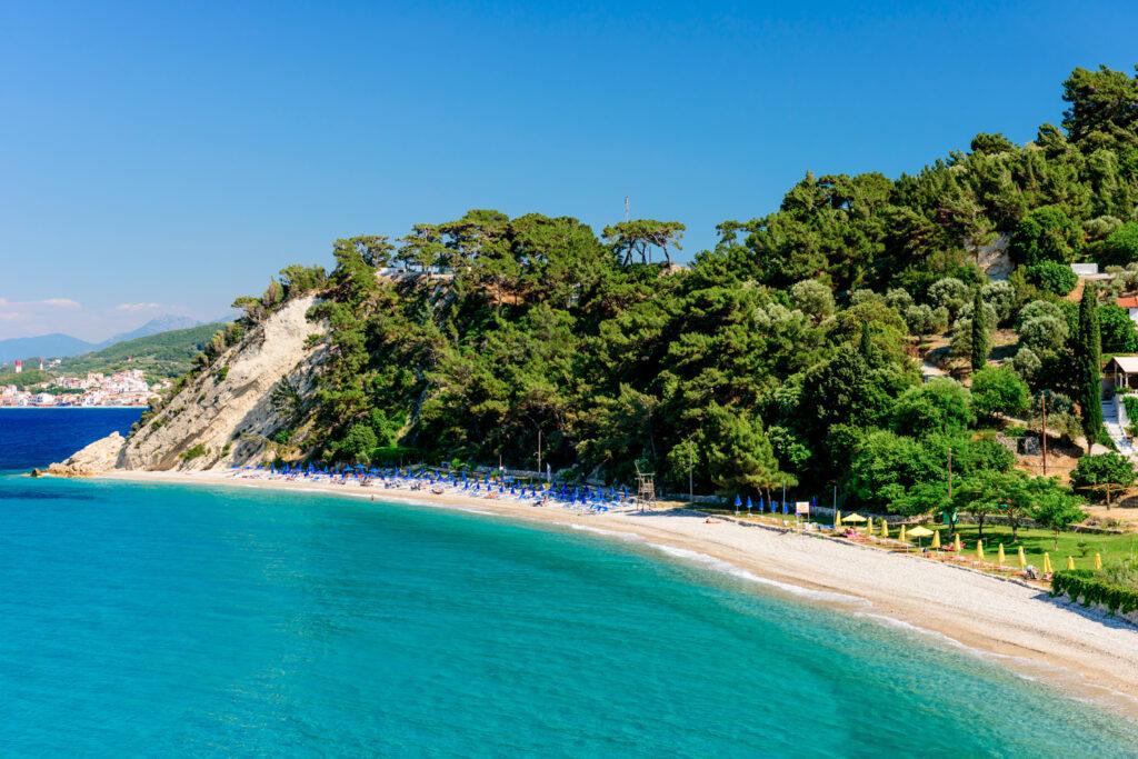 Tsamadou beach in Samos island, Aegean Sea Greece