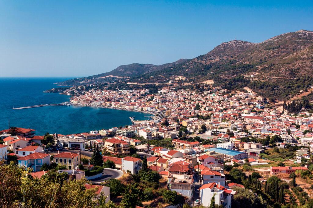Vathy port in Samos island, Aegean Sea Greece