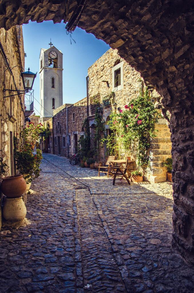 Village of Mesta in Chios island, North Aegean Sea Greece