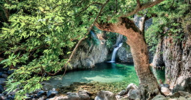 Vathres waterfalls in Samothrace, North Aegean Sea Greece