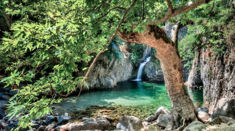 Vathres waterfalls in Samothrace, North Aegean Sea Greece