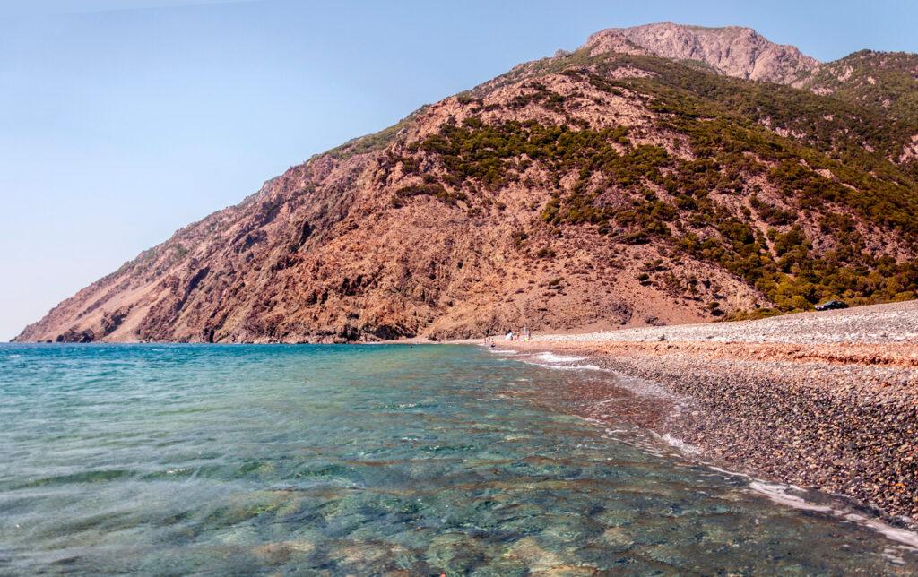 Kipos beach in Samothrace, North Aegean Sea Greece