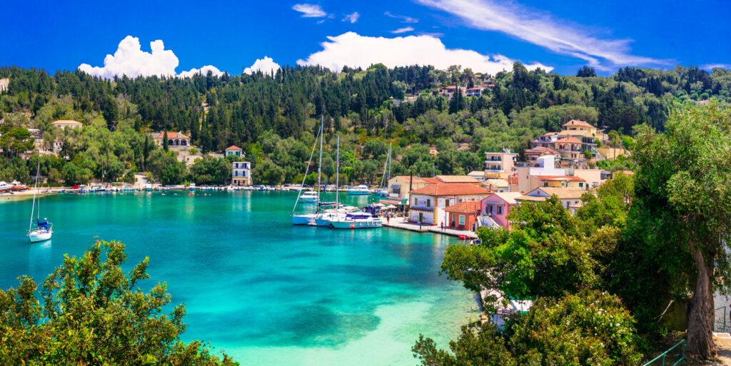 Paxos Ionian Sea, Greece - the picturesque fishing village of Lakka in Paxos