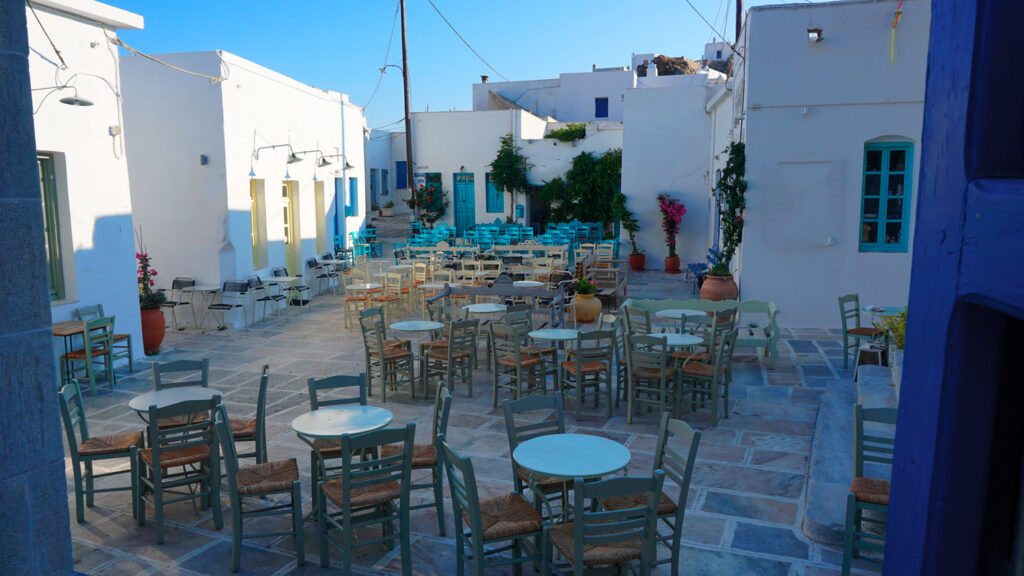 Square with traditional houses in Serifos, Cyclades Greece