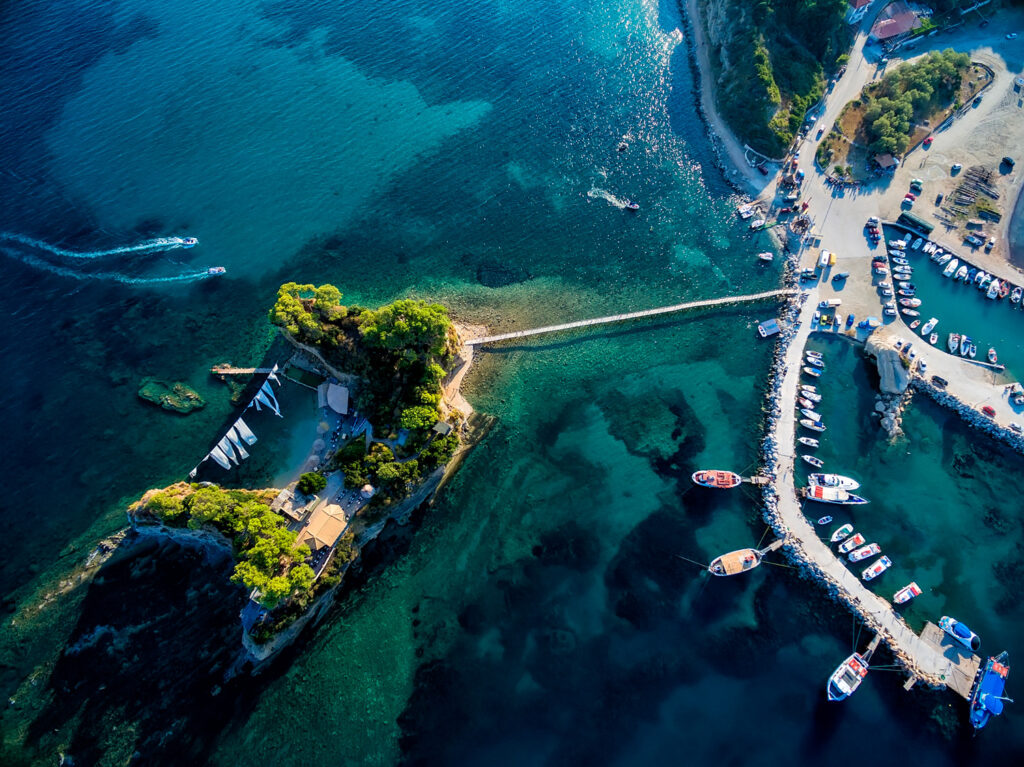 Aerial view of marina with boats in a bay of Zakynthos island, Ionian Sea Greece