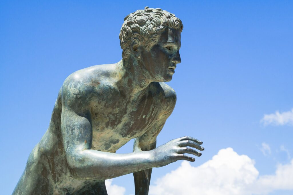 Travel to Corfu, Greece - sculpture of a runner