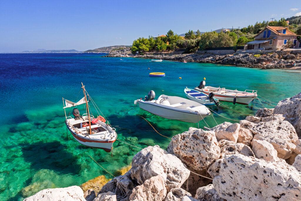 Fishing boats in Zakynthos island, Ionian Sea Greece
