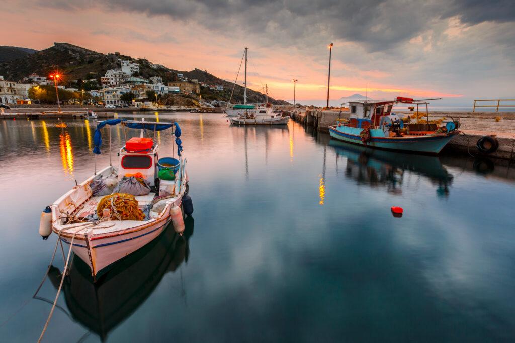 Harbour of Agios Kirikos village, Ikaria, North Aegean Sea Greece