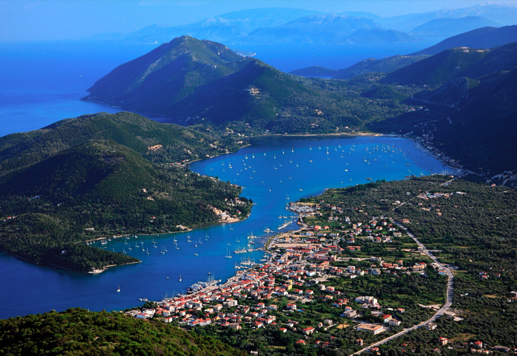Panoramic view of Vlychos Bay and Nydri Town in Lefkada, Ionian Sea Greece