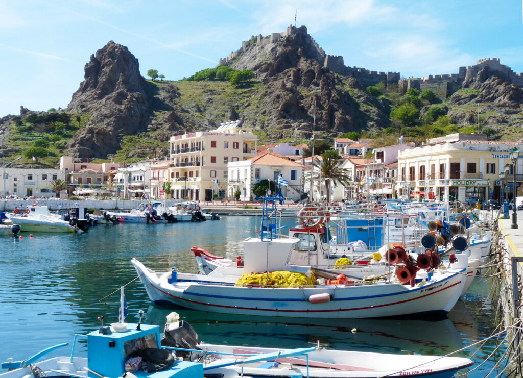 Myrina harbor and castle photo K. Vergas
