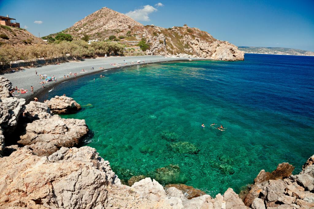 Mavra Volia beach in Chios, North Aegean Sea Greece