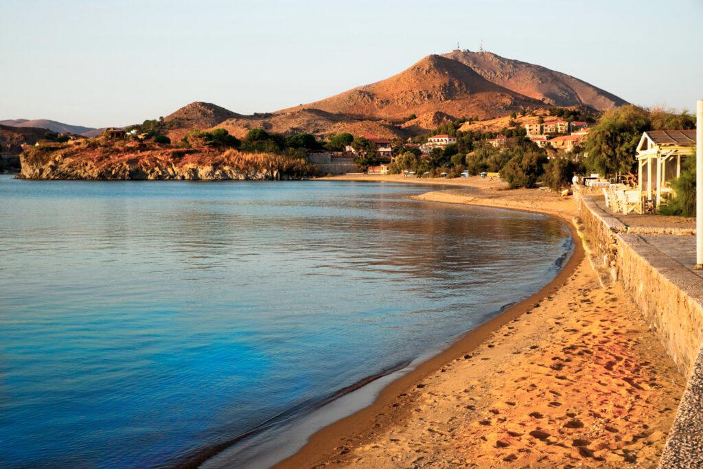 Myrina town beach. Lemnos island