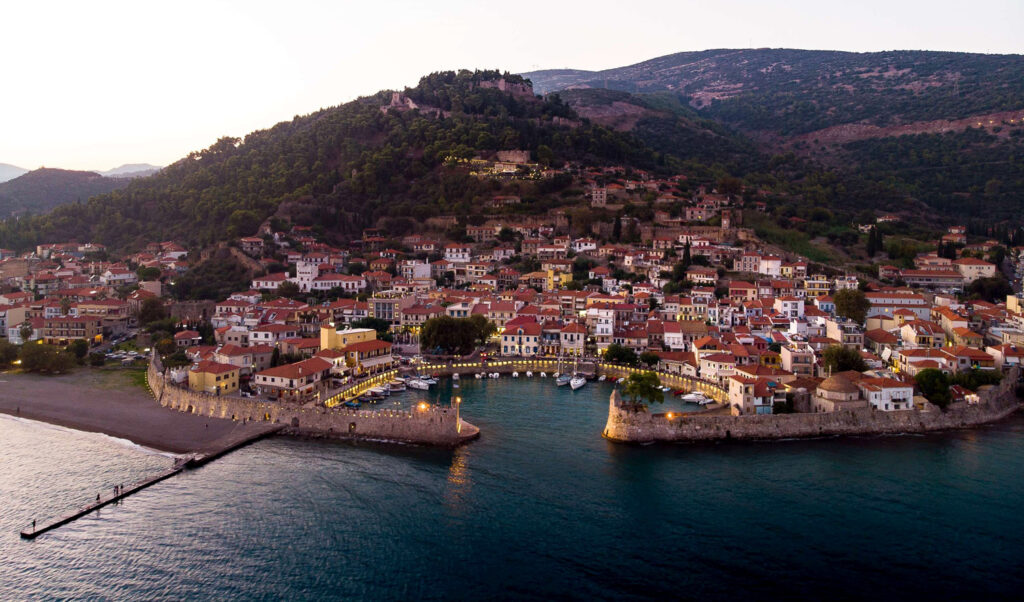 Travel to Nafpaktos, Greece - panoramic view of habor, town and castle