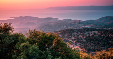 Sunset during a hike in Lesbos, North Aegean Sea Greece