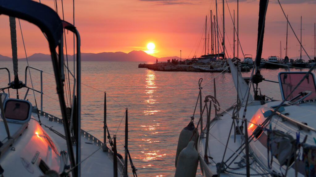 Sunset over the mountains of Corfu, seen from Sivota port, Epirus Greece