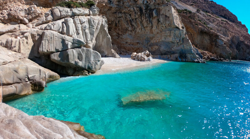 The bay of Seychelles beach in Ikaria, North Aegean Sea Greece