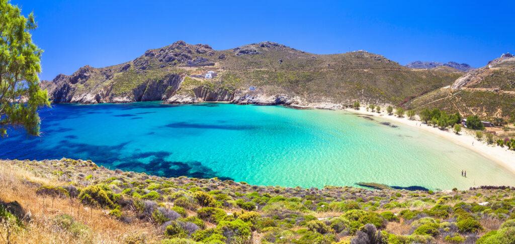 Travel to Serifos, Cyclades, Greece - beautiful emerald beach