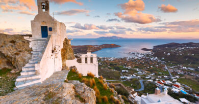 Travel to Serifos, Cyclades, Greece - View from the top of the castle, Sifnos is seen in the distance