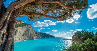 View over Porto Katsiki beach in Lefkada island, Ionian Sea Greece
