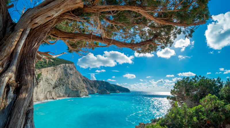 View over Porto Katsiki beach in Lefkada island, Ionian Sea Greece