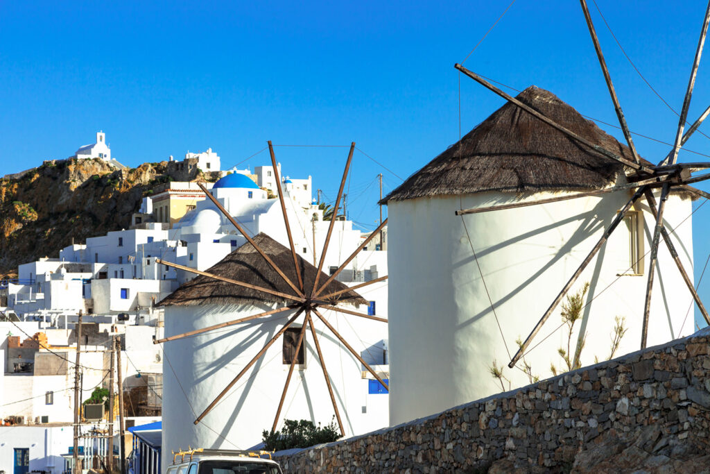 Windmills in Chora of Serifos, Cyclades Greece