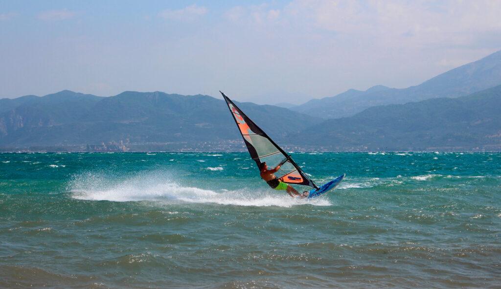 Windsurfing in the Corinthian Gulf near Nafpaktos, Greece