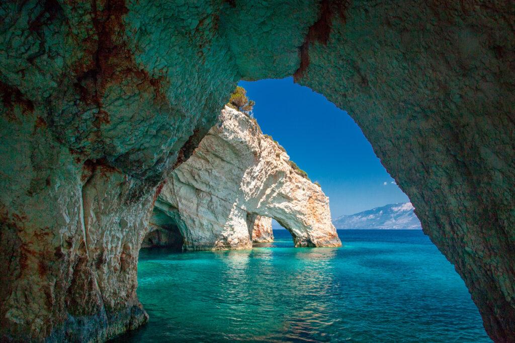 Blue Caves in Zakynthos, Ionian Sea Greece