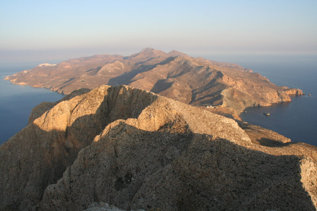 Arial view of the rocky landscape in Anafi, Greece