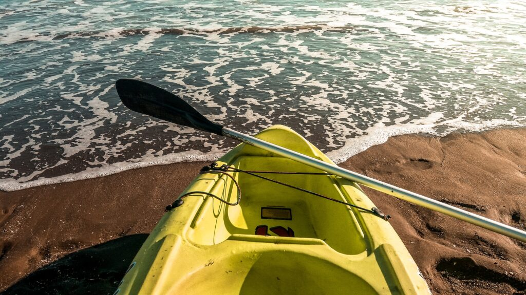 Travel to Greece - Sea kayak on beach