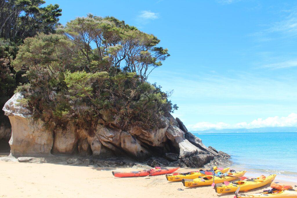 Travel to Greece - sea kayaks on beach