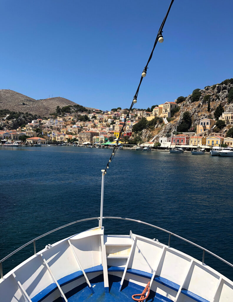 Travel to the Dodecanese, Greece - Approaching Symi town, Symi Island
