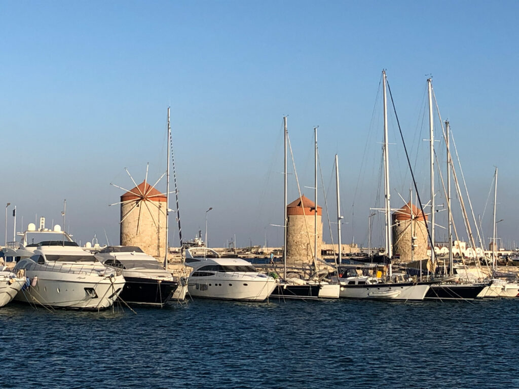 Travel to the Dodecanese, Greece - Windmills at Rhodes harbour