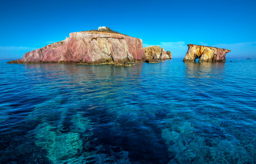 a little islet with a traditional chapel at Antiparos island, Cyclades Greece