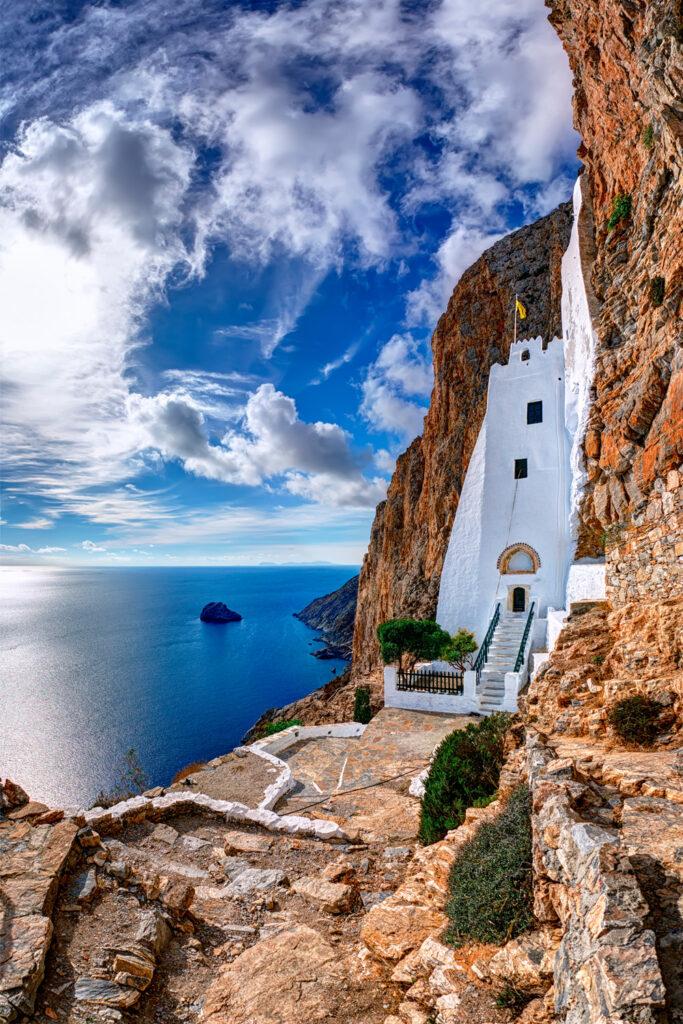 Monastery of Hozoviotissa at the high cliffs in Amorgos island Greece