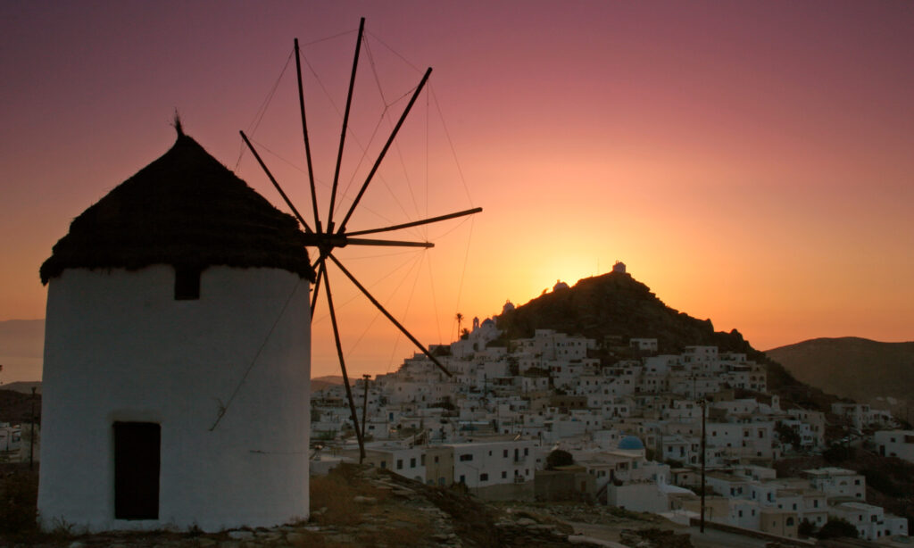 Traditional windmill above Chora Ios, Cyclades Greece