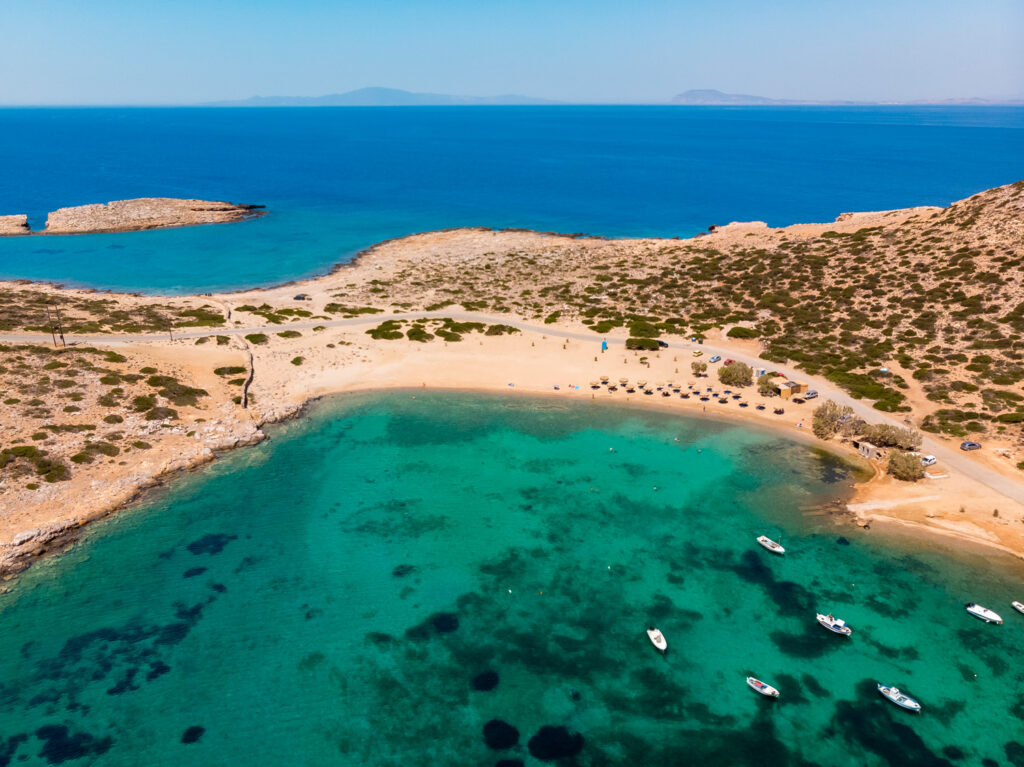 Kalotaritissa beach, aerial view Amorgos island Greece