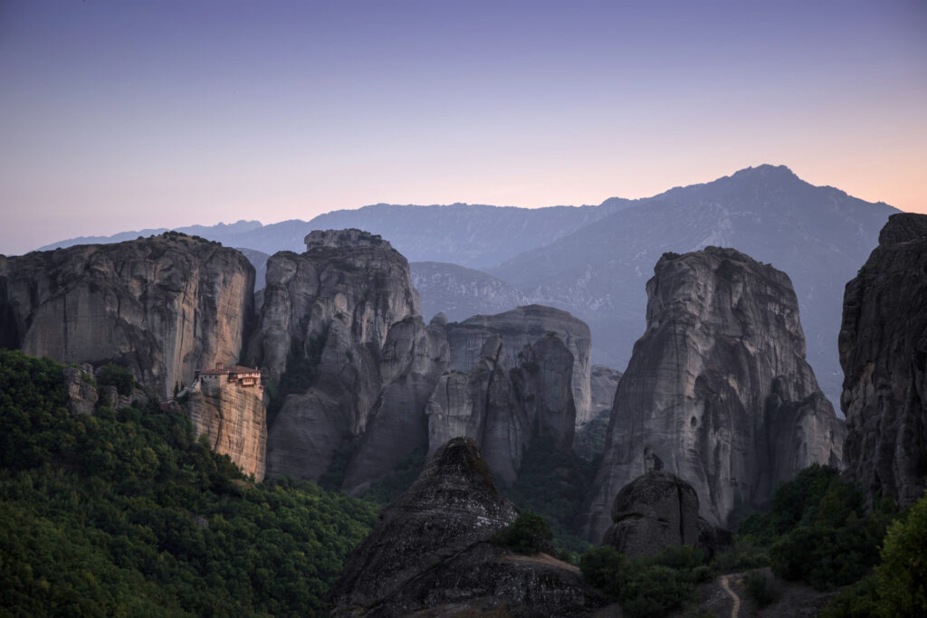 Travel to Meteora Greece - Vertical limestone rocks - photo by Olivier Guillard