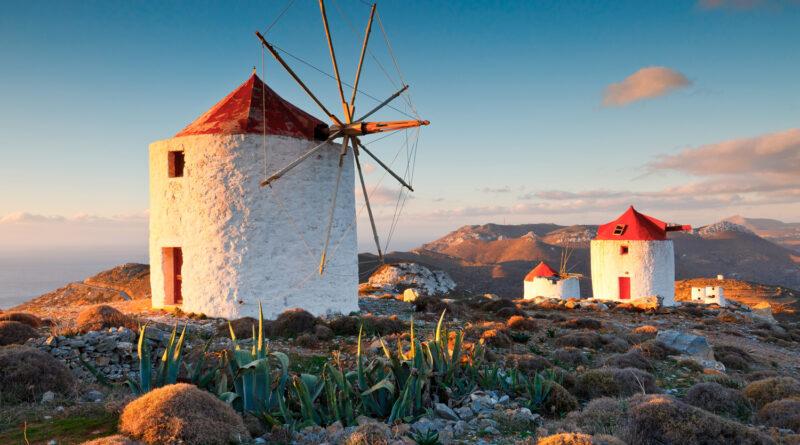 Traditional windmills near Chora village on Amorgos island in Greece